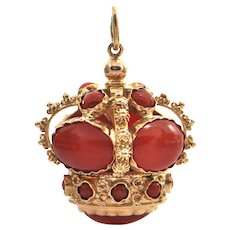 Italian Etruscan Style Coral and 18K Yellow Gold Crown Fob Charm