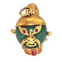 Nephrite Jade and Ruby 18k Yellow Gold Samurai Warrior