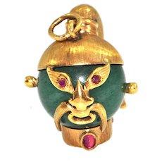 Nephrite Jade and Ruby 18k Yellow Gold Samurai Warrior