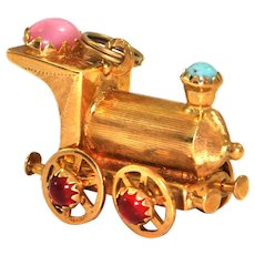 18K Yellow Gold Locomotive Charm