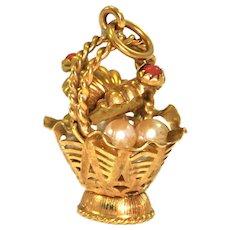 18K Yellow Gold Picnic Basket Charm