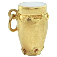 Italian 18K Yellow Gold Drum Charm