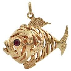 Vintage 14K Yellow Gold Fish Charm