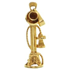 18K Yellow Gold Candlestick Telephone Charm