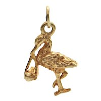 14K Yellow Gold Stork With Baby Charm