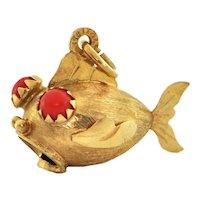 Italian 18K Yellow Gold Fish Charm