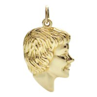 Vintage 14K Yellow Gold Child Silhouette Charm