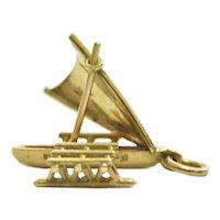 Vintage 18K Yellow Gold Catamaran Boat Charm