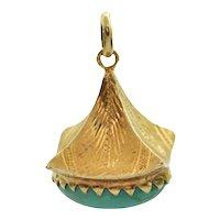 Vintage retro Turquoise 18K Yellow Gold Lantern Charm