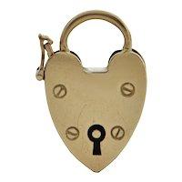 Vintage English 9K Yellow Gold Heart Lock Charm
