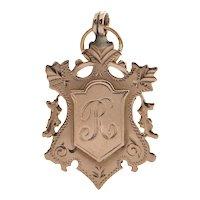 Antique English 9K Rose Gold Initialed 'R' Crest Charm (C.1872)