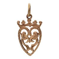 Vintage 9k Yellow Gold Scottish Luckenbooth Heart Charm