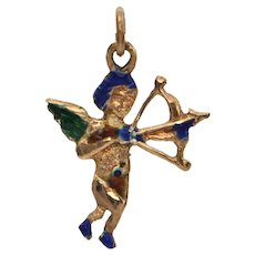 Vintage Gold and Enamel Cupid Charm