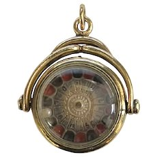 Antique Roulette and Bloodstone Spinning Fob Charm