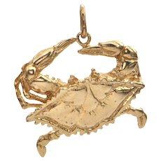 Vintage Gold Blue Crab Charm/Pendant