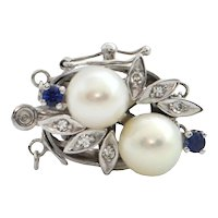 Retro Sapphire, Diamond and Pearl 14k White Gold Single or Double Strand Clasp C. 1950