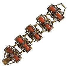 Vintage Costume Faux Coral Large Link Bracelet