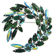 Sherman Costume Wreath With Flower Brooch C.1950's