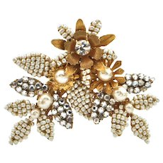 Miriam Haskell Costume Flower with Leaves Brooch