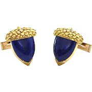 Vintage 14K Yellow Gold Lapis Lazuli Acorn Cufflinks