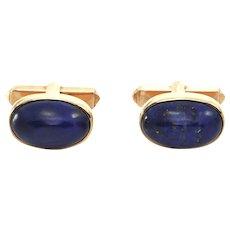 Vintage 18K Yellow Gold and Lapis Lazuli Cufflinks