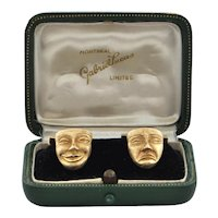 Vintage 18K Yellow Gold Comedy And Tragedy Mask Cufflinks C.1950