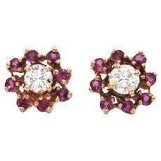 Vintage 14K Yellow Gold Diamond and Ruby Flower Stud Earrings