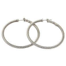 David Yurman Twisted Cable 925 Sterling Silver Hoops