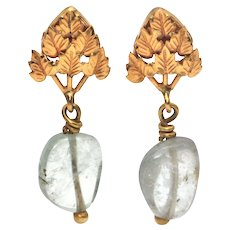Vintage Aquamarine and 18K Yellow Gold Drop Earrings