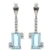 9.5 CT Aquamarine and 0.36 CT Diamond 18K White Gold Earrings