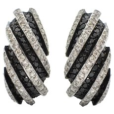 4.65CT Black and White Striped Pavé Diamond Earrings