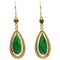 Vintage Jade 14k and 18k Yellow Gold Drop Earrings