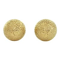 Mid-century vintage 18k Yellow Gold Textured Earrings