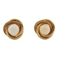 Vintage 18K Yellow Gold Angel Skin Coral Earrings
