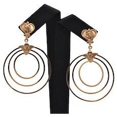 Vintage Egyptian 18K Rose Gold Large Drop Earrings