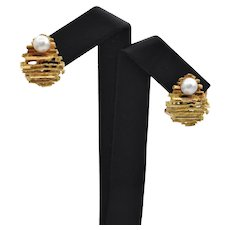 Mid-Century French Pearl Brutalist Style Earrings
