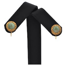 Antique Jade and Gold Screw-Back Earrings