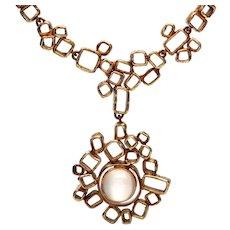 Walter Schluep Moonstone Pendant and Necklace 18k c.1960
