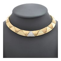 Vintage Mid-Century Triangular Link Diamond 18K Yellow and White Gold Necklace