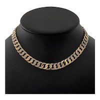 Vintage 18K Yellow Gold Diamond Curb Link Necklace