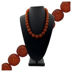 """Vintage 24"""" Butterscotch Amber Graduated Bead Necklace"""