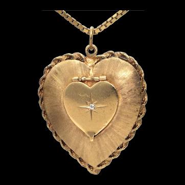 Vintage Diamond and 14K Yellow Gold Heart Locket
