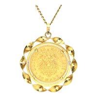 21K Yellow Gold 1857 Deutches Reich 20 Mark Coin with 18K Bezel Pendant