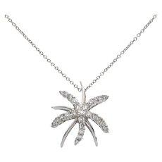 Diamond Starburst Starfish 18K White Gold Slider Pendant