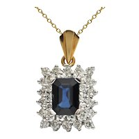 Sapphire and Diamond 14K White and Yellow Gold Pendant