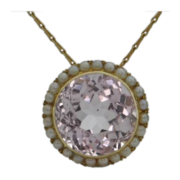 Antique Kunzite and Pearl 14K Yellow Gold Pendant