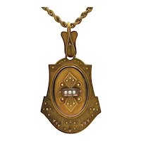Antique Victorian Etruscan Revival Seed Pearl 14K Yellow Gold Hair Locket
