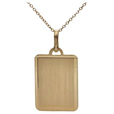 Vintage Italian Engravable 18K Yellow Gold Tag Pendant