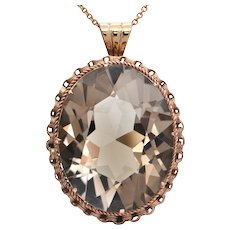 Retro 14k Rose Gold 98CT Smoky Quartz Pendant/Brooch