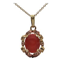 Mid-Century 14K Two-Toned Gold Coral Pendant